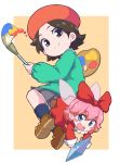 2girls adeleine beret black_legwear blue_eyes blush bow brown_hair closed_mouth crystal eyebrows_visible_through_hair fairy grey_skirt hair_bow hal_laboratory_inc. hat highres holding holding_paintbrush hoshi_no_kirby hoshi_no_kirby_64 human kirby_(series) kirby_64 looking_at_viewer multiple_girls nazonazo_(nazonazot) nintendo open_mouth paint paintbrush palette pink_hair red_bow ribbon_(kirby) short_hair skirt smile socks