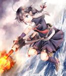 1girl bangs black_serafuku blue_eyes braid breasts brown_hair clouds cloudy_sky commentary_request eyebrows_visible_through_hair fingerless_gloves from_side gloves hair_between_eyes hair_flaps hair_ornament hair_ribbon holding holding_weapon kantai_collection medium_breasts neckerchief ocean red_neckwear remodel_(kantai_collection) ribbon rigging sailor_collar school_uniform serafuku shigure_(kantai_collection) shoes short_hair sidelocks single_braid sky smile socks solo standing standing_on_liquid thigh_strap weapon yuki_shuuka