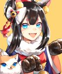 1girl animal animal_ears black_hair blue_eyes bow cat_ears character_request dog facial_mark fur_collar long_hair looking_at_viewer onmyoji open_mouth simple_background solo thick_eyebrows tiyi_(tiyi_a09) white_bow yellow_background