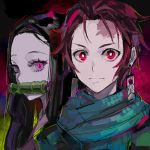 1boy 1girl bamboo bit_gag closed_mouth earrings eyelashes forehead forehead_scar gag highres jewelry kamado_nezuko kamado_tanjirou kimetsu_no_yaiba long_hair looking_at_viewer mouth_hold multicolored multicolored_eyes pink_eyes ram_(ramlabo) redhead slit_pupils upper_body