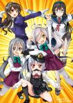 5girls ahoge artist_name asashimo_(kantai_collection) ashigara_(kantai_collection) black_hair black_legwear blue_sailor_collar blue_skirt bow bowtie brown_eyes brown_hair dragon_ball dragon_ball_z dress eyebrows_visible_through_hair fake_facial_hair fake_mustache fang ginyu_force_pose glasses gloves green_eyes grey_eyes grey_hair grey_legwear grin hair_over_one_eye hairband hat highres ishihara_masumi kantai_collection kasumi_(kantai_collection) kiyoshimo_(kantai_collection) kneehighs loafers long_hair long_sleeves looking_at_viewer low_twintails military_hat multiple_girls neck_ribbon necktie ooyodo_(kantai_collection) open_mouth pantyhose parody peaked_cap pinafore_dress pleated_skirt ponytail pose purple_hair red_neckwear remodel_(kantai_collection) ribbon sailor_collar school_uniform sharp_teeth shirt shoes side_ponytail silver_hair skirt smile sweatdrop teeth twintails twitter_username very_long_hair wavy_hair white_gloves white_shirt yellow_eyes