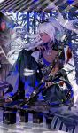 1boy absurdres bamboo black_footwear black_gloves blood bloody_clothes closed_mouth eyeshadow full_body gloves high_ponytail highres katana lamp lantern long_hair long_sleeves looking_at_viewer makeup male_focus mannendake_(onmyoji) nail_polish nipples onmyoji paper_lantern partly_fingerless_gloves sitting solo sword tuotuo violet_eyes water weapon white_hair white_nails