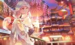1girl architecture bangs blue_headwear blue_kimono blue_sky clouds commentary east_asian_architecture floral_print flower glint hakugyokurou hat head_tilt highres hitodama holding holding_umbrella japanese_clothes kimono lantern looking_to_the_side mob_cap obi omodaka_romu oriental_umbrella outdoors pink_eyes pink_hair railing saigyouji_yuyuko sash scenery short_hair sky sleeves_past_fingers sleeves_past_wrists smile solo standing symbol_commentary touhou triangular_headpiece twilight umbrella wisteria