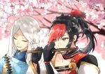 2boys abe_no_seimei_(onmyoji) asymmetrical_bangs asymmetrical_gloves bangs black_gloves black_hair cherry_blossoms closed_eyes closed_mouth collar collarbone flower flute gloves high_ponytail highres holding_flute instrument japanese_clothes long_hair looking_at_another male_focus minamoto_no_hiromasa multicolored_hair multiple_boys onmyoji open_mouth pink_flower red_eyes redhead tiyi_(tiyi_a09) two-tone_hair white_hair