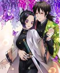 1boy 1girl absurdres belt belt_buckle black_hair blue_eyes blush breasts buckle bug butterfly butterfly_hair_ornament butterfly_on_shoulder buttons closed_mouth commentary english_commentary frchan24 gradient_hair hair_between_eyes hair_ornament haori highres holding_hands hug hug_from_behind insect jacket japanese_clothes katana kimetsu_no_yaiba kochou_shinobu long_hair looking_at_another medium_breasts multicolored_hair open_clothes open_mouth ponytail purple_butterfly purple_hair sheath sheathed short_hair sword tomioka_giyuu twitter_username uniform violet_eyes weapon white_belt white_jacket