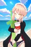 1girl absurdres artoria_pendragon_(all) artoria_pendragon_(swimsuit_rider_alter) bangs beach bikini black_jacket black_ribbon blonde_hair breasts clouds commentary_request day drinking drinking_straw eyebrows_visible_through_hair fate/grand_order fate_(series) greypidjun highres holding huge_filesize jacket looking_at_viewer maid_headdress navel outdoors purple_bikini red_jacket ribbon solo swimsuit sword weapon yellow_eyes