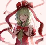 1girl bangs bow chinese_commentary commentary_request eyebrows_visible_through_hair frilled_bow frilled_ribbon frilled_shirt_collar frills front_ponytail green_eyes green_hair hair_bow hair_ribbon highres kagiyama_hina leaf long_hair open_mouth puffy_short_sleeves puffy_sleeves red_bow red_ribbon ribbon short_sleeves signature smile snozaki solo touhou upper_body