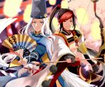 2boys abe_no_seimei_(onmyoji) arrow beads black_hair blue_eyes bow_(weapon) chinese_clothes closed_mouth collar fan hat high_ponytail holding holding_arrow holding_bow_(weapon) holding_fan holding_weapon japanese_clothes jewelry long_hair long_sleeves looking_at_viewer male_focus minamoto_no_hiromasa multicolored_hair multiple_boys onmyoji ponytail red_eyes redhead standing tate_eboshi tiyi_(tiyi_a09) two-tone_hair weapon white_hair