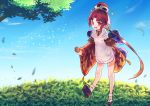 1girl apron bangs benienma_(fate/grand_order) blush commentary_request day eyebrows_visible_through_hair fate/grand_order fate_(series) greypidjun hat highres holding japanese_clothes kimono long_hair long_sleeves looking_at_viewer low_ponytail open_mouth outdoors parted_bangs ponytail red_eyes redhead smile solo very_long_hair white_apron wide_sleeves