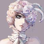 1girl black_eyes bow close-up doll_(kuroshitsuji) eyelashes face feather_trim flower lowres one_eye_closed red_lips rose solo
