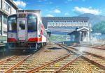 blue_sky building clouds day ground_vehicle highres kashi_takahisa no_humans original railroad_tracks scenery sky train train_station tree window