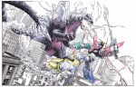 battle building claws crossover duel dustinweaver fangs fighting godzilla_(series) horn kaijuu mecha no_humans red_eyes science_fiction sharp_teeth spacegodzilla spikes sword tagme tail teeth voltron_(mecha) voltron_(series) weapon