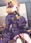 1girl abigail_williams_(fate/grand_order) bangs black_bow black_jacket blonde_hair blue_eyes blurry blurry_background blush bow bubble_tea commentary_request crossed_bandaids cup depth_of_field disposable_cup drinking drinking_straw fate/grand_order fate_(series) hair_bow hair_bun heroic_spirit_traveling_outfit highres holding holding_cup jacket key long_hair long_sleeves looking_at_viewer orange_bow parted_bangs polka_dot polka_dot_bow ryofuhiko sleeves_past_fingers sleeves_past_wrists solo star tentacles twitter_username