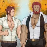 2boys abs autumn bara beard belt blue_eyes blush brown_hair bursting_pecs chest denim facial_hair fate/grand_order fate_(series) highres holding_hands jeans lobokensfw looking_at_viewer male_focus multiple_boys muscle napoleon_bonaparte_(fate/grand_order) pants pectorals red_eyes redhead rider_(fate/zero) saliva scar shirt sideburns smile t-shirt thumbs_up tree