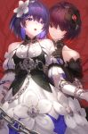 +_+ 2girls :o ahoge bangs bare_shoulders black_dress black_gloves blue_hair blush breasts chain choker closed_mouth collarbone cowboy_shot dark_persona detached_sleeves dress elbow_gloves eyebrows_visible_through_hair gloves hair_between_eyes hair_ornament hand_on_another's_arm highres honkai_(series) honkai_impact_3rd keyhole kfr medium_breasts multicolored_hair multiple_girls puffy_short_sleeves puffy_sleeves purple_hair red_eyes redhead seele_vollerei short_hair short_sleeves smile upper_teeth violet_eyes white_dress white_gloves