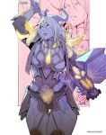 1girl armor bodysuit breasts commission horns long_hair paladin pointy_ears rejean_dubois solo warcraft weapon world_of_warcraft yellow_eyes
