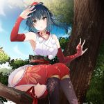 1girl arm_up armpits ass bangs black_hair blue_sky blush breasts collarbone detached_sleeves double_bun feet_out_of_frame from_below hat highres in_tree japanese_clothes large_breasts long_hair looking_at_viewer nijisanji obi outdoors parted_lips pom_pom_(clothes) sash sitting sky solo thighs tokin_hat tree vane virtual_youtuber yamagami_karuta yellow_eyes