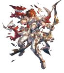 1boy alternate_costume armor armored_boots arrow boots bow_(weapon) brown_hair cape fingerless_gloves fire_emblem fire_emblem:_genealogy_of_the_holy_war fire_emblem:_thracia_776 fire_emblem_heroes full_body gloves highres hino_shinnosuke leif_(fire_emblem) male_focus official_art one_eye_closed orange_eyes quiver solo torn_clothes transparent_background weapon