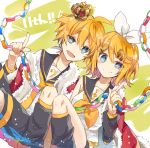 1boy 1girl anniversary bangs bare_shoulders black_collar black_shorts black_sleeves blonde_hair blue_eyes bow cape closed_mouth collar commentary crop_top detached_sleeves fur-trimmed_cape fur_trim hair_bow hair_ornament hairclip holding index_finger_raised kagamine_len kagamine_rin knee_up leg_warmers looking_at_viewer neckerchief necktie open_mouth paper_chain red_cape sailor_collar school_uniform shirt short_hair short_ponytail short_sleeves shorts sitting smile spiky_hair swept_bangs treble_clef utaori vocaloid white_bow white_shirt yellow_neckwear