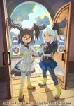 2girls :d animal_print backlighting badge bald_eagle_(kemono_friends) bangs belt bird_tail bird_wings black_jacket black_legwear black_neckwear black_shirt blazer blonde_hair blue_skirt blue_sky boots breast_pocket brown_hair buttons clenched_hand company_name copyright_name day door doorway eyebrows_visible_through_hair fence gloves gradient gradient_hair gradient_legwear grey_hair hair_between_eyes hand_on_hip hand_up hands_up head_wings holding indoors jacket kemono_friends kemono_friends_3 loafers long_hair long_sleeves looking_at_viewer medium_hair multicolored multicolored_clothes multicolored_footwear multicolored_hair multicolored_legwear multiple_girls necktie northern_goshawk_(kemono_friends) official_art open_door open_mouth orange_eyes pantyhose photo_(object) pleated_skirt pocket print_jacket print_neckwear saltlaver shadow shirt shoes sidelocks skirt sky smile standing tail tree tsurime two-tone_legwear v-shaped_eyebrows white_belt white_gloves white_hair white_jacket white_legwear white_skirt wing_collar wings wooden_floor yellow_eyes yellow_footwear