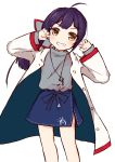 1girl absurdres ahoge alternate_costume bangs blue_skirt blush brown_hair coat commentary_request eyebrows_visible_through_hair fujinami_(kantai_collection) grey_shirt grin hands_up head_tilt highres ichi kantai_collection long_hair long_sleeves looking_at_viewer open_clothes open_coat purple_hair shirt simple_background skirt smile solo white_background white_coat