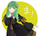 1girl bow closed_mouth fire_emblem fire_emblem:_three_houses flayn_(fire_emblem) garreg_mach_monastery_uniform green_eyes green_hair hair_ornament kyufe long_hair long_sleeves simple_background smile solo uniform yellow_bow