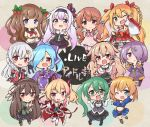 .live 6+girls anchor_hair_ornament animal_ears bike_shorts black_shorts blonde_hair blue_eyes blue_hair blush braid brown_hair carro_pino cat_ears cat_tail chibi copyright_name double_v elbow_gloves full_body glasses gloves green_eyes green_hair hair_ornament hair_over_one_eye kagura_suzu_(.live) kakyouin_chieri kiso_azuki kitakami_futaba kongou_iroha light_brown_hair long_braid long_hair long_sleeves looking_at_viewer low_twintails mokota_mememe multiple_girls nekonoki_mochi one_eye_closed open_mouth pink_eyes pink_hair purple_hair red_eyes sheep_ears short_hair shorts shorts_under_skirt silver_hair smile tail thigh-highs tobi_(nekomata_homara) twintails ushimaki_riko v violet_eyes virtual_youtuber waving white_gloves yaezawa_natori yamato_iori yozakura_tama
