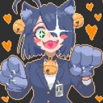 +_+ 1girl ahoge animal_ears bell bell_collar blush blush_stickers cat_ears collar fangs green_eyes halloween hcnone heart id_card long_sleeves looking_at_viewer office_lady open_mouth original pixel_art smile solo upper_body