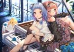 2girls :o ahoge azur_lane back-to-back bare_shoulders bird black_dress black_footwear black_gloves blue_flower blue_hair brown_eyes brown_hair building chick day dress flower fur_trim gloves grand_piano hair_flower hair_ornament hair_rings headband instrument knee_up leg_hug long_hair looking_at_viewer mamemena manjuu_(azur_lane) multicolored_hair multiple_girls off-shoulder_dress off_shoulder official_art one_side_up parted_lips petals piano pink_hair purple_hair red_eyes rose sheet_music shoes short_hair sitting sitting_on_object two-tone_hair u-556_(azur_lane) u-556_(party_knight!)_(azur_lane) u-81_(azur_lane) u-81_(tranquil_serenade)_(azur_lane) white_dress window