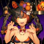 1girl ;d animal_ears bangs barefoot bikini_top black_hair black_headwear bow bowtie breasts breda_30 cat_ears claw_pose detached_collar domco earrings eyebrows_visible_through_hair fangs flower halloween hat hat_flower highres jack-o'-lantern jewelry lantern lips medium_breasts necklace one_eye_closed open_mouth orange_bow orange_eyes orange_flower orange_hair orange_nails original purple_flower purple_nails redhead short_hair slit_pupils smile solo star star_earrings upper_body witch_hat