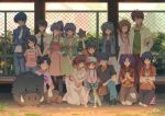4boys 6+girls :o ^_^ animal antenna_hair apron arm_up arms_behind_back bangs baseball_bat baseball_cap baseball_mitt black_hair blue_hair blue_jacket blue_pants blue_shorts boar botan_(clannad) brown_eyes brown_hair cat chain-link_fence character_request child clannad closed_eyes closed_mouth collarbone commentary_request crossed_arms dated denim dress everyone eyebrows_visible_through_hair fence green_dress hair_bobbles hair_intakes hair_ornament hair_ribbon hand_on_hip hat highres holding holding_animal hood hood_down jacket jeans jewelry kneehighs kneeling long_hair long_sleeves looking_at_viewer making-of_available multiple_boys multiple_girls necklace one_knee open_clothes open_jacket orange_footwear outdoors own_hands_together pants ponytail puffy_short_sleeves puffy_sleeves ribbon shirt shoes short_hair short_over_long_sleeves short_sleeves shorts sidelocks signature skirt sleeveless sleeveless_dress smile sneakers squatting standing star suspender_shorts suspenders t-shirt twintails two_side_up violet_eyes white_dress white_legwear white_ribbon white_skirt xiaobanbei_milk yellow_shirt
