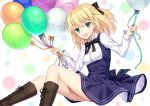 1girl ahoge artoria_pendragon_(all) balloon bangs black_bow black_neckwear black_ribbon blonde_hair blue_dress boots bow brown_footwear cross-laced_footwear dress eyebrows_visible_through_hair fate/grand_order fate/unlimited_codes fate_(series) green_eyes hair_bow highres holding_balloon long_sleeves looking_at_viewer open_mouth ribbon saber_lily shino_skk short_hair sitting smile solo