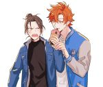 2boys alternate_costume anger_vein angry black_eyes black_hair bubble_tea contemporary cowboy_shot drinking drinking_straw eyebrows_visible_through_hair felix_hugo_fraldarius fire_emblem fire_emblem:_three_houses food_theft glaring guiyuy jacket letterman_jacket long_sleeves looking_at_another multiple_boys open_mouth orange_eyes orange_hair shirt short_hair simple_background spiky_hair sylvain_jose_gautier topknot turtleneck white_background