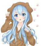 1girl :o animal_ears animal_hood arm_up bangs blue_eyes blue_hair blush brown_jacket collarbone dog_ears dog_hood eyebrows_visible_through_hair fake_animal_ears hair_between_eyes hand_up hibiki_(kantai_collection) hood hood_up hooded_jacket hoshino_kagari jacket kantai_collection long_hair long_sleeves looking_at_viewer open_mouth paw_background pinching_sleeves simple_background sleeves_past_wrists solo upper_body white_background