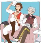 2boys beard blue_eyes brown_hair chest epaulettes facial_hair fate/grand_order fate_(series) glasses grey_hair james_moriarty_(fate/grand_order) long_sleeves male_focus multiple_boys muscle mustache napoleon_bonaparte_(fate/grand_order) pants pectorals scar shitappa simple_background smile uniform