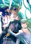 1boy 2girls armor black_armor byleth_(fire_emblem) byleth_(fire_emblem)_(male) closed_eyes fire_emblem fire_emblem:_three_houses from_side green_eyes green_hair hair_ornament long_hair multiple_girls parted_lips pointy_ears rhea_(fire_emblem) short_hair simple_background sothis_(fire_emblem) tiara tsengyun white_background