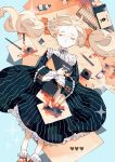 1girl black_dress blonde_hair blue_background book bow closed_eyes dress eraser freckles frills hair_bow heart higashino highres holding holding_book inkwell long_sleeves lying on_back orange_bow original paint paint_tube paintbrush paper pencil quill red_footwear sketchbook socks solo sparkle tearing_up translation_request twintails white_legwear