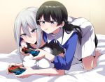 bangs black_hair blush braid higuchi_kaede long_hair nijisanji nintendo_switch on_bed playing_games pout rikosyegou sweatdrop tsukino_mito white_hair yuri