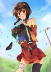 1girl absurdres bandaged_leg bandages bangs bare_shoulders belt black_headwear black_panties blue_sky blush brown_belt brown_hair chomusuke dress eyebrows_visible_through_hair grass highres kono_subarashii_sekai_ni_shukufuku_wo! megumin open_mouth outdoors panties red_dress red_eyes short_hair_with_long_locks skirt sky smile solo underwear wind yuno_(suke_yuno)