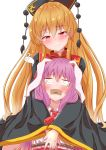 2girls absurdres animal_ears bangs black_dress blank_eyes blonde_hair blush bound commentary_request constricted_pupils dress eyebrows_visible_through_hair facing_viewer gag gagged giving_up_the_ghost hair_between_eyes head_tilt headdress highres hug hug_from_behind improvised_gag junko_(touhou) long_hair long_sleeves mukkushi multiple_girls necktie pom_pom_(clothes) purple_hair rabbit_ears red_eyes red_neckwear reisen_udongein_inaba rope shirt simple_background smile tabard tape tape_gag tassel tied_up touhou white_background white_shirt wide_sleeves yuri