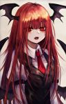 1girl absurdres bangs black_vest blush commentary demon_wings eyebrows_visible_through_hair grey_background hair_between_eyes head_wings highres juliet_sleeves koakuma long_hair long_sleeves looking_at_viewer maho_moco necktie open_mouth puffy_sleeves red_eyes red_neckwear redhead shirt simple_background solo touhou upper_body vest white_shirt wings
