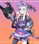 1girl candy death_knight_(fire_emblem) fire_emblem fire_emblem:_three_houses food gradient gradient_background graysheartart halloween_costume hat helmet highres holding_lollipop lollipop long_hair long_sleeves lysithea_von_ordelia one_eye_closed open_mouth pink_eyes simple_background twitter_username white_hair witch_hat