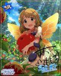 blue_eyes blush brown_hair dress fairy idolmaster_million_live!_theater_days short_hair smile suou_momoko wings