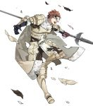 1boy 88_taho armor armored_boots boots brown_eyes cape conrad_(fire_emblem) fire_emblem fire_emblem_echoes:_shadows_of_valentia fire_emblem_heroes full_body fur_trim gloves highres mask official_art open_mouth orange_hair polearm scarf solo spear teeth torn_clothes transparent_background weapon