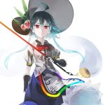 1girl adapted_costume ahoge alternate_hairstyle apron black_gloves blue_hair blue_skirt commentary fingerless_gloves frills gloves hat hat_ornament highres hinanawi_tenshi holding holding_sword holding_weapon long_hair looking_at_viewer o_(crazyoton46) rainbow_order red_eyes shirt short_sleeves skirt solo sword sword_of_hisou tassel touhou weapon white_background white_shirt