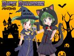 2girls :d animal animal_ears animal_hood bangs bare_tree bat bell black_capelet black_dress black_gloves black_headwear black_skirt blue_eyes blush bow capelet castle cat_ears cat_girl cat_hood cat_tail commentary_request cross dress elbow_gloves eyebrows_visible_through_hair fake_animal_ears fang gloves green_hair halloween halloween_costume happy_halloween hat holding hood hood_up hooded_capelet jack-o'-lantern jingle_bell kumaneko_rococo multiple_girls open_mouth original parted_bangs paw_gloves paw_pose paws pleated_skirt red_bow red_eyes skirt skull smile tail translated tree twintails v-shaped_eyebrows witch_hat
