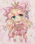 1girl artist_request blonde_hair chibi green_eyes hair_ribbon katsuragi_(senran_kagura) petals ribbon senran_kagura senran_kagura_new_link tagme