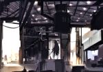 1girl accuracy_international animal animal_ears awp_(girls_frontline)_(dyolf) black_hair building cat cat_ears cat_tail commentary_request day dress dyolf facing_away girls_frontline gun headphones highres holding holding_gun holding_weapon indoors long_hair original revision rifle scenery scope signature sniper_rifle solo standing sunlight tail very_long_hair weapon wide_shot