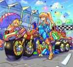 1boy 1other 2girls adapted_costume blue_earrings blue_eyes boots breasts commentary_request confetti crown cup disposable_cup drinking_straw facial_hair gem gloves ground_vehicle hair_ornament hair_scrunchie high_ponytail highres holding holding_cup hunter-class_gunship mario mario_(series) mario_kart medium_breasts metroid motor_vehicle motorcycle multiple_girls mustache nintendo oomasa_teikoku orange_footwear orange_gloves parasol princess_peach racetrack samus_aran scrunchie shoulder_pads sidelocks skin_tight solo_focus thigh-highs thigh_boots toad umbrella varia_suit waving white_gloves zero_suit