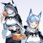 1girl animal_ears blue_hair braid closed_eyes closed_mouth crown_braid fire_emblem fire_emblem:_three_houses fur_trim gradient gradient_background graysheartart grin halloween_costume hood hood_up long_sleeves marianne_von_edmund multiple_views one_eye_closed picnic_basket simple_background smile squirrel twitter_username